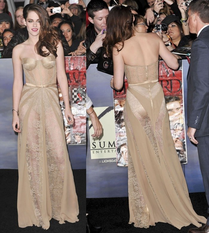 Kristen Stewart left little to the imagination in a nude lace dress by Zuhair Murad