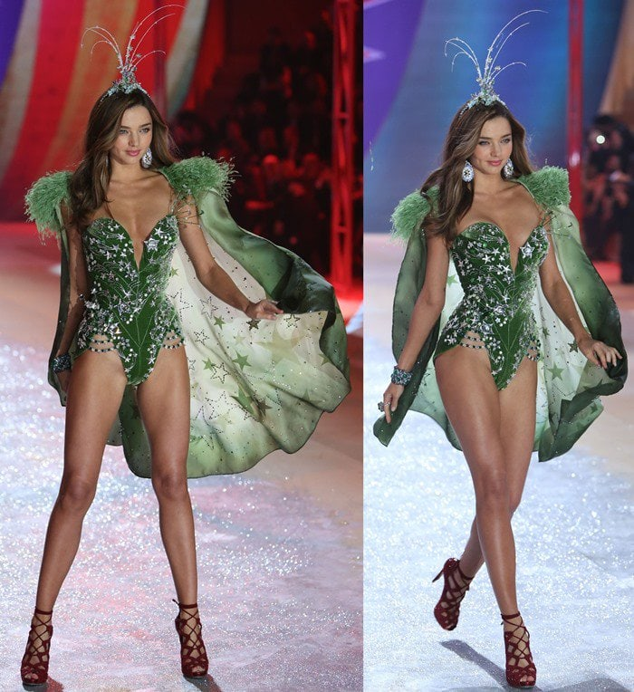 Miranda Kerr flaunted her legs in a forest green corset featuring magical silver stars