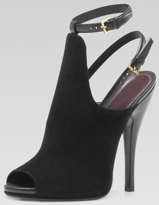 Gucci Jane Open-Toe High-Heel Suede Booties