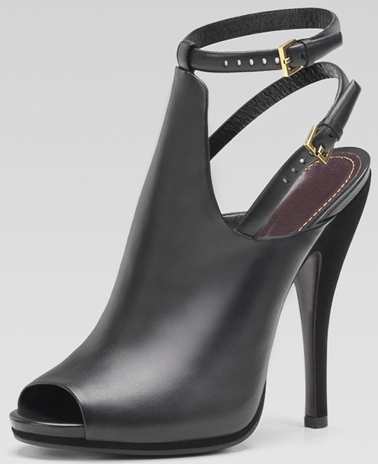 Gucci Jane Open-Toe Leather Booties