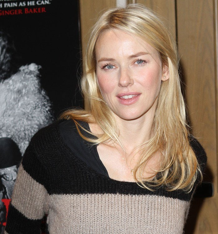 Naomi Watts was a very casual chic and cool striped sweater from GAP