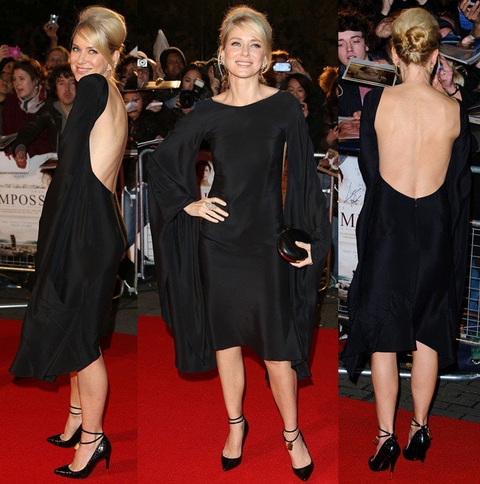 Naomi Watts in an open back Tom Ford Spring 2013 dress with sleeves attached to the skirt at The Impossible UK premiere held at the Imax in London, England on November 19, 2012