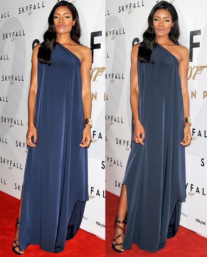 Naomie Harris ina blue asymmetrical dress from the Maison Martin Margiela Resort 2013 collection