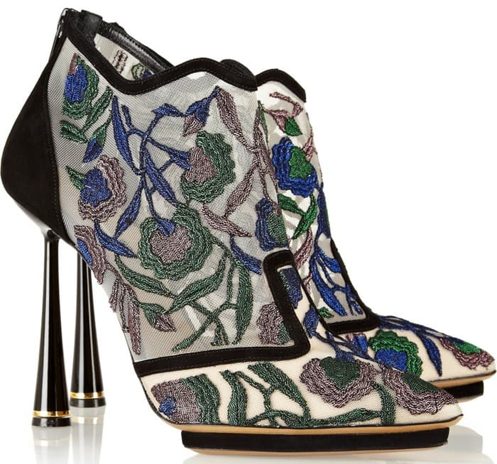 Nicholas Kirkwood Multicolor Belle Epoque Embroidered Mesh and Suede Ankle Boots