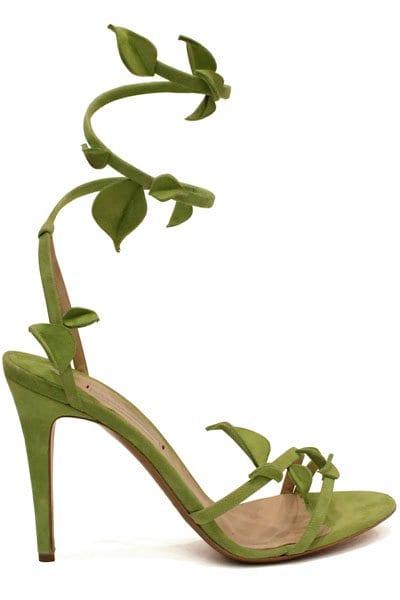 Nicholas Kirkwood for Victoria's Secret Angels in Bloom green floral shoes