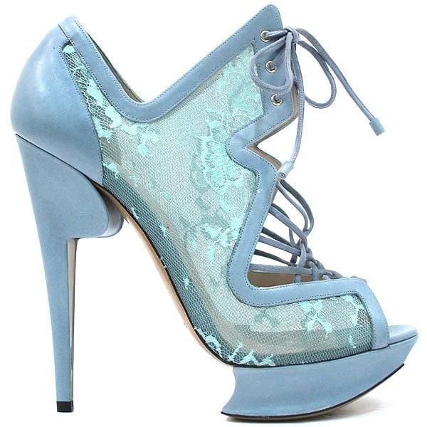 Blue lace Nicholas Kirkwood heels