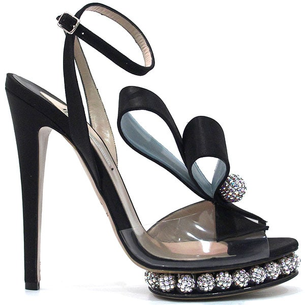 Bow and crystal-embellished black sandals