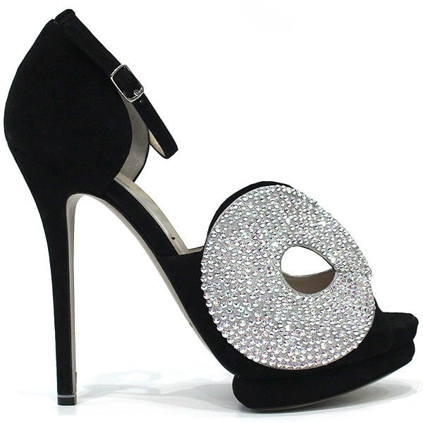 Crystal-Embellished Black Sandals