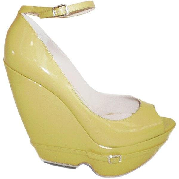 Yellow wedge sandals by Nicholas Kirkwood
