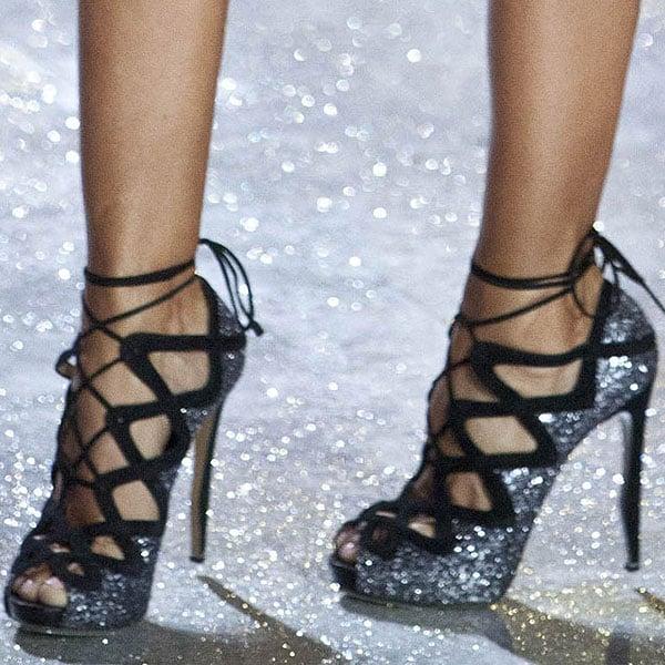 Brazilian model Izabel Goulart shows off her feet in crystal heels