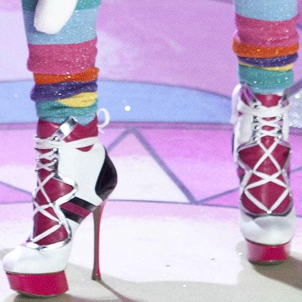 Latvian model Ieva Lagūna wearing towering heels by Nicholas Kirkwood