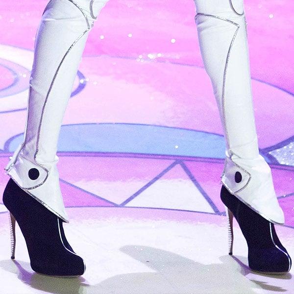 English supermodel Jourdan Dunn wearing black crystal heels