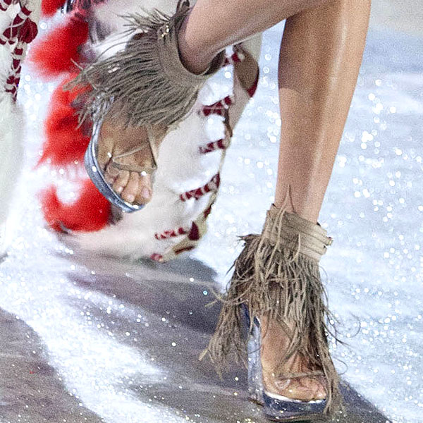 Karlie Kloss wears fringe shoes inspired by Native Americans