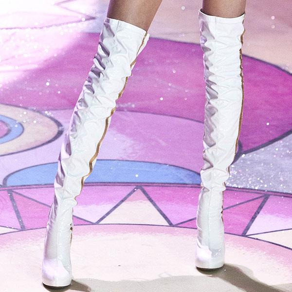 American model Jacquelyn Jablonski wearing white boots