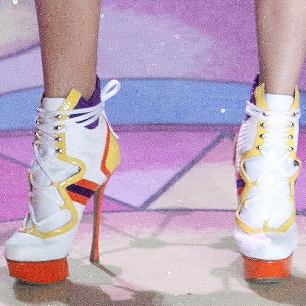 Maud Welzen wears towering stiletto boots