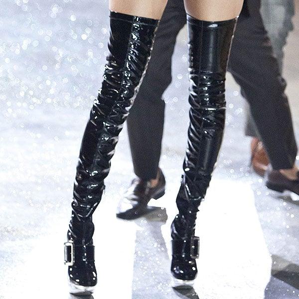 Hungarian model Barbara Palvin rocks black latex boots