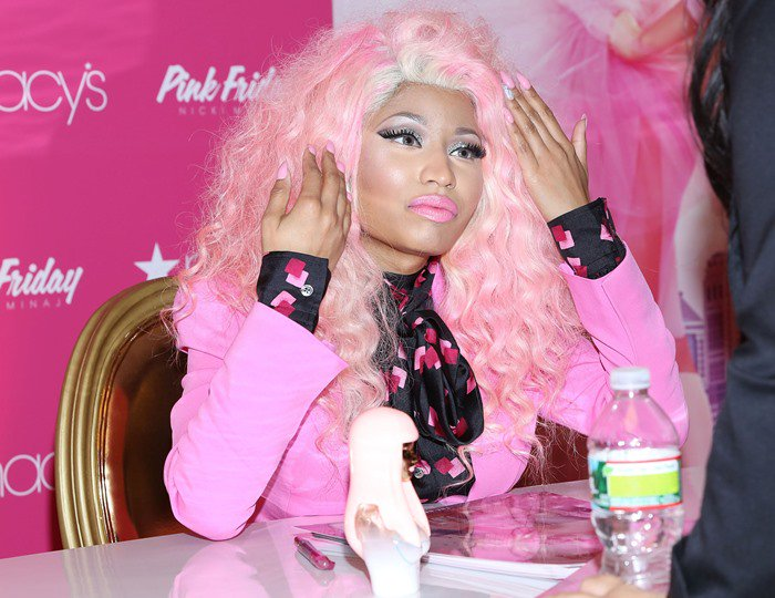 "Nicki Minaj was recently spotted in one of her typical head-to-toe pink looks while promoting her new fragrance ""Pink Friday"" in New York"