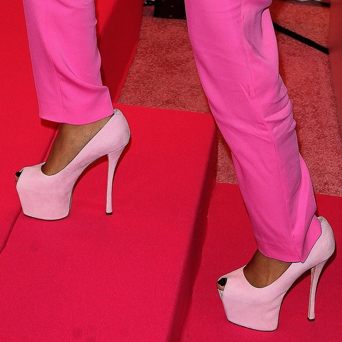 Nicki Minaj wearing crazy high peep-toe heels by Giuseppe Zanotti