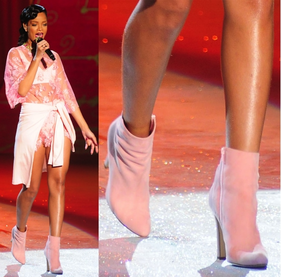 Rihanna performing in a look by Adam Selman at the Victoria's Secret Fashion Show