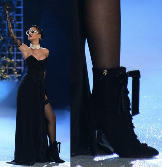 Rihanna in a black corset by Vivienne Westwood and a skirt by Adam Selman