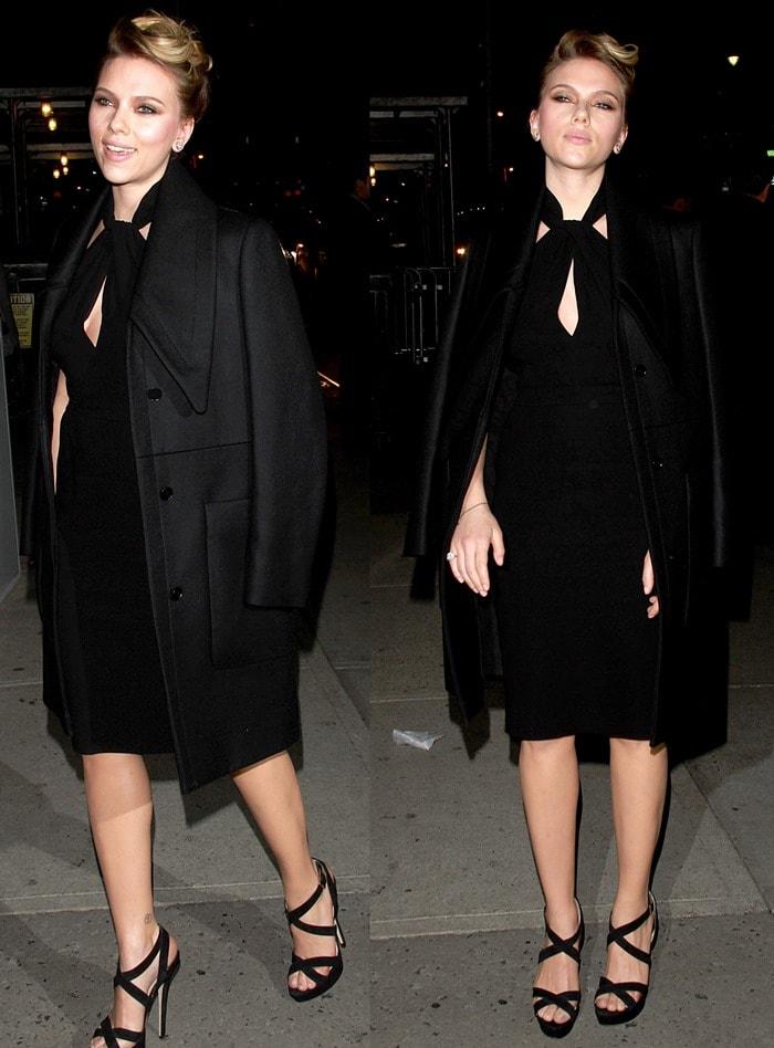 Scarlett Johansson was decked in black from head to toe