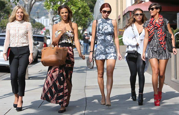 Una Healy, Rochelle Humes aka Rochelle Wiseman, Mollie King, Vanessa White, and Frankie Sandford of 'The Saturdays' shopping on Robertson Boulevard in Los Angeles, California on November 2, 2012