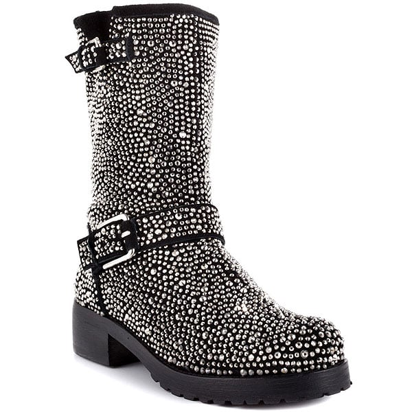ZiGi Black Label 'Angel' Stone-Studded Suede Engineer Boots in Black