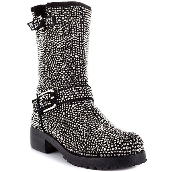 ZiGi Black Label 'Angel' Stone-Studded Suede Engineer Boots in Black