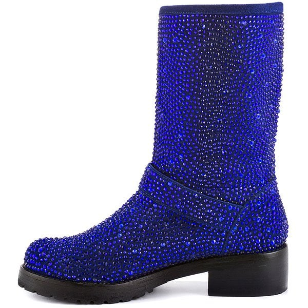 ZiGi Black Label 'Angel' Stone-Studded Suede Engineer Boots in Blue