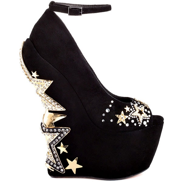 ZiGi Black Label 'Axis' Studded Star Heel Ankle-Strap Wedges