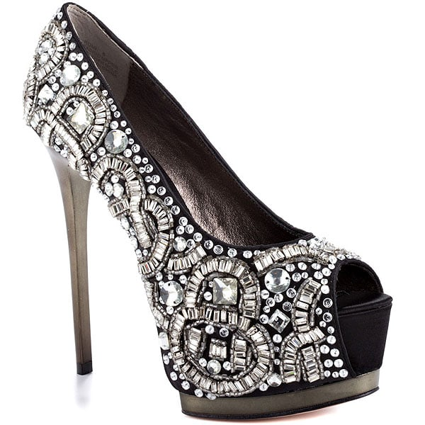 ZiGi Black Label Romi Jeweled Satin Peep-Toe Pumps