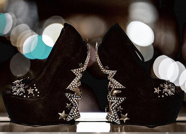 ZiGi Black Label 'Axis' Studded Star Heel Ankle-Strap Wedges