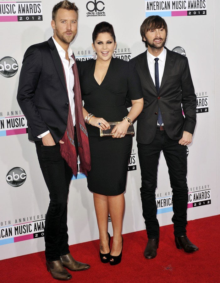 Charles Kelley, Hillary Scott and Dave Haywood of Lady Antebellum at the 40th Anniversary American Music Awards held at Nokia Theatre L.A. Live in Los Angeles on November 18, 2012