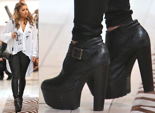 Vanessa White in chunky ankle booties
