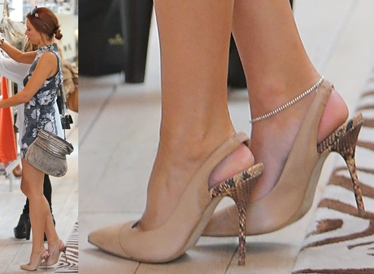 Una Healy in neutral slingback pointy pumps