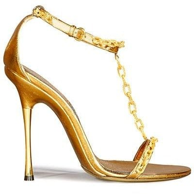 Gold Chain Heeled Sandals