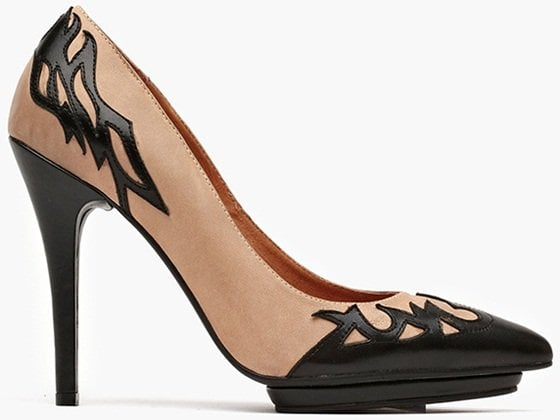 Laser-cut flames lick the top line of these two-tone leather pumps