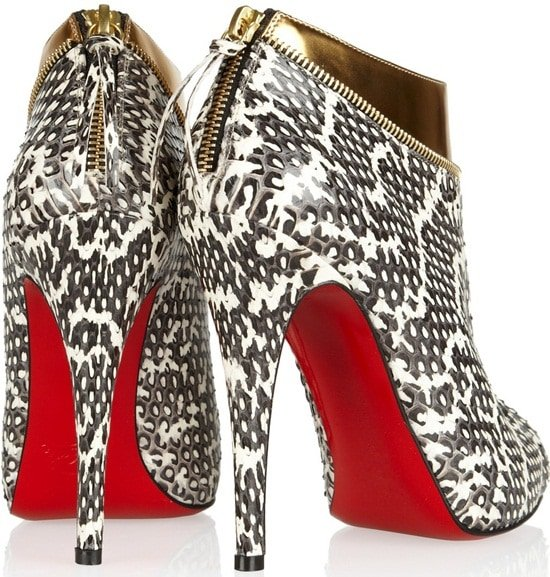Christian Louboutin Col Zippe Watersnake Leather Ankle Booties