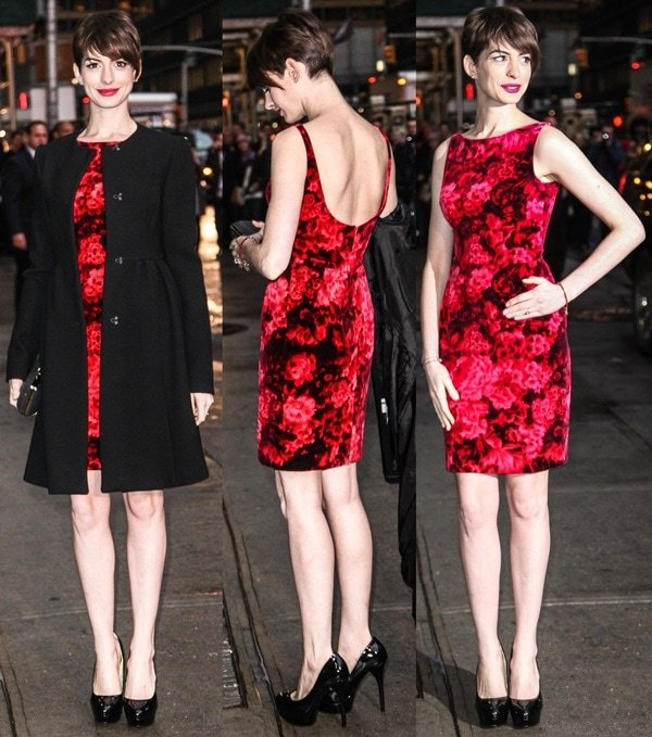 Anne Hathaway wears a Mafalda dress while out in New York City for a guest appearance on David Letterman's show