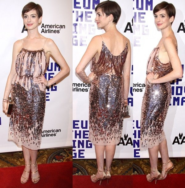 Anne Hathaway attends The Museum of Moving Images Salute to Hugh Jackman