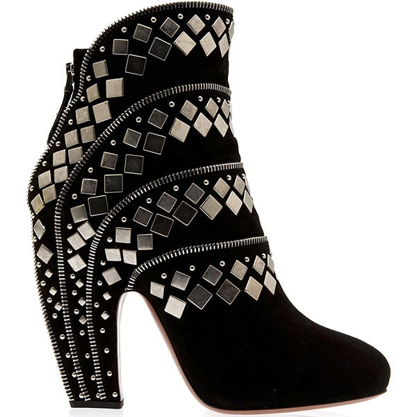 Azzedine Alaia Stud and Zip Suede Ankle Boots