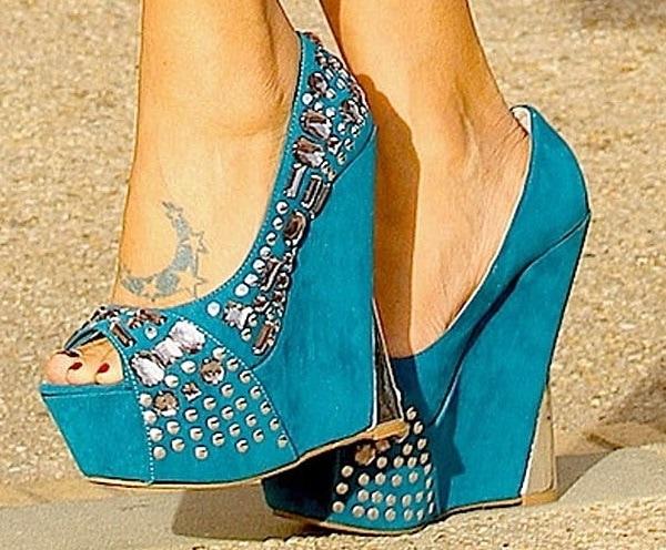 Bai Ling's hot feet in blue jeweled peep-toe wedges