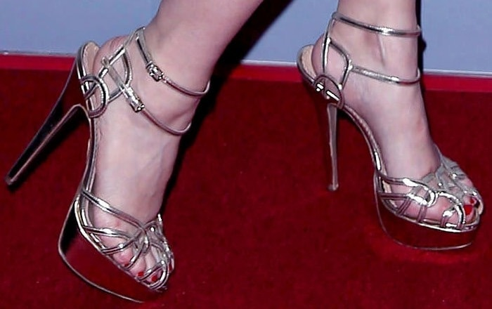 """Holly Madison in """"Ursula"""" sandals from Charlotte Olympia"""