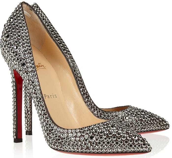 Christian Louboutin Silver Pigalle 120 Crystal-Embellished Suede Pumps
