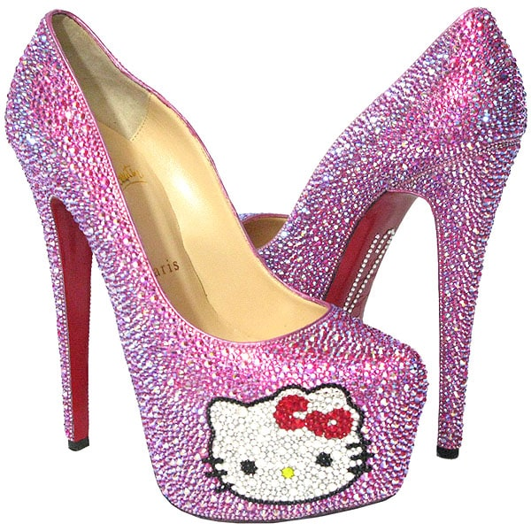 "Crystal Heels Hello Kitty Christian Louboutin ""Daffodile"" Custom Shoes"