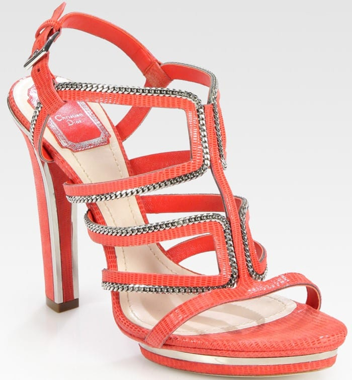 Dior Red Chain-embellished Tejus-print Suede Platform Sandals