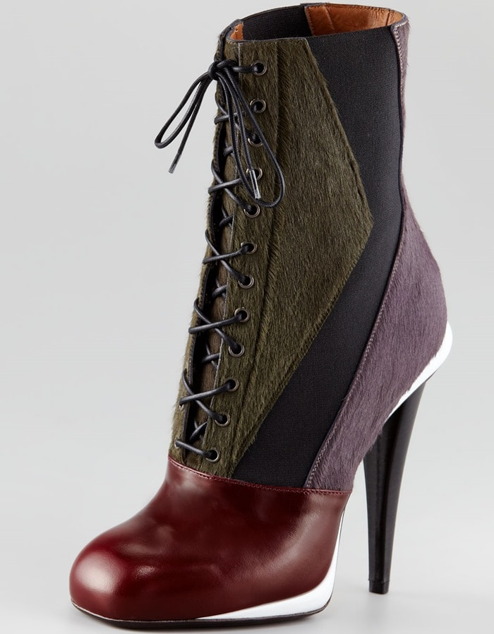 Fendi Mixed-Media Victorian Calf Hair Lace-Up Ankle Boots in Red/Green