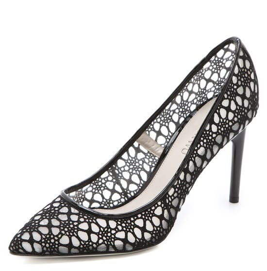 Modern, ladylike lace creates a delicate illusion over the sturdy, yet comfortable mesh lining of these elegant pointed pumps