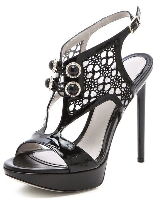 Jason Wu details these patent evening platforms with crystal-encrusted buttons and sheer panels of floral lace