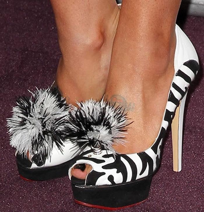 Kelly Osbourne shows off her feet in Charlotte Olympia Zelda zebra pumps